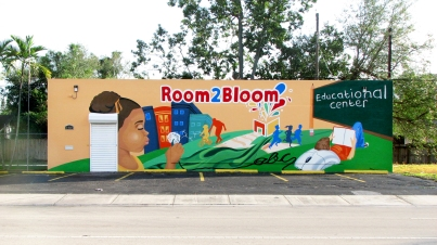Mural on the wall of Room2Bloom Educational Center